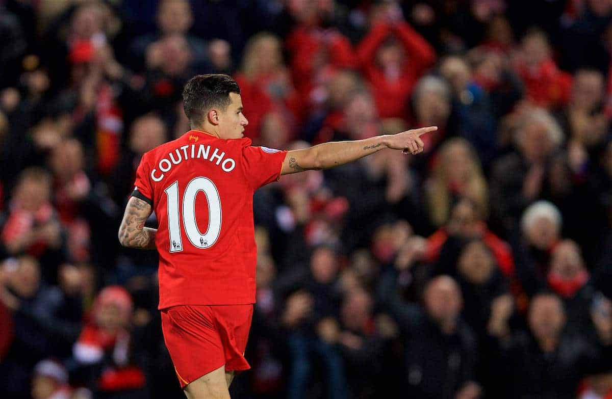 LIVERPOOL, ENGLAND - Wednesday, April 5, 2017: Liverpool's Philippe Coutinho Correia celebrates scoring the first equalising goal against AFC Bournemouth during the FA Premier League match at Anfield. (Pic by David Rawcliffe/Propaganda)