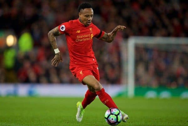 LIVERPOOL, ENGLAND - Wednesday, April 5, 2017: Liverpool's Nathaniel Clyne in action against AFC Bournemouth during the FA Premier League match at Anfield. (Pic by David Rawcliffe/Propaganda)