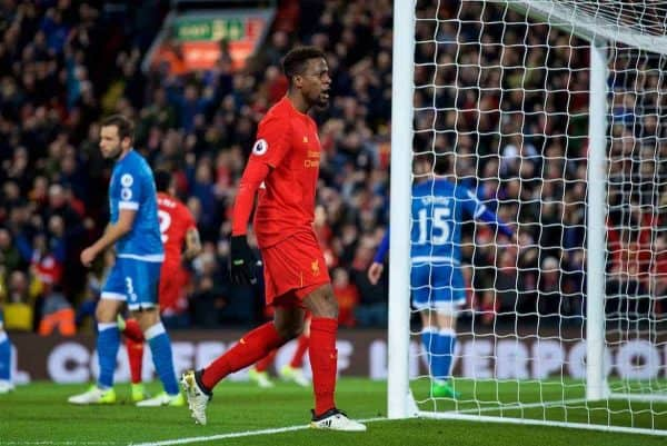LIVERPOOL, ENGLAND - Wednesday, April 5, 2017: Liverpool's Divock Origi celebrates scoring the second goal against AFC Bournemouth during the FA Premier League match at Anfield. (Pic by David Rawcliffe/Propaganda)
