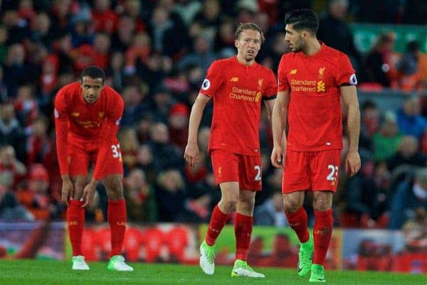 LIVERPOOL, ENGLAND - Wednesday, April 5, 2017: Liverpool's Lucas Leiva and Emre Can look dejected as AFC Bournemouth score the second equalising goal during the FA Premier League match at Anfield. (Pic by David Rawcliffe/Propaganda)