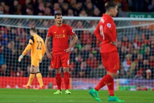 LIVERPOOL, ENGLAND - Wednesday, April 5, 2017: Liverpool's Dejan Lovren looks dejected as AFC Bournemouth score the second equalising goal during the FA Premier League match at Anfield. (Pic by David Rawcliffe/Propaganda)