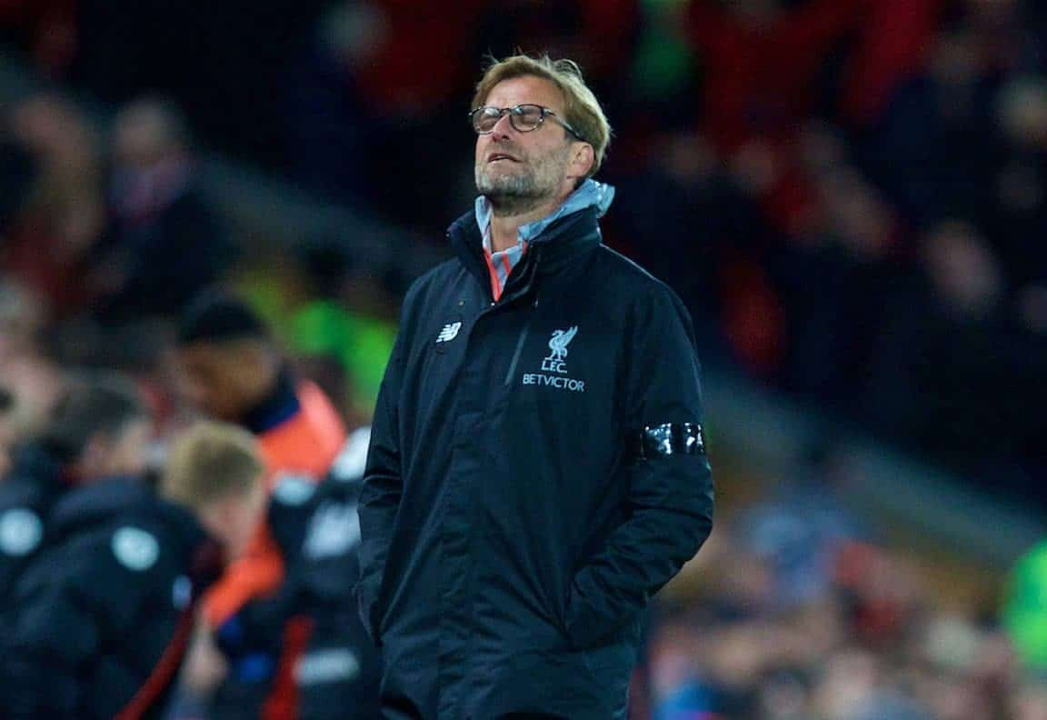 LIVERPOOL, ENGLAND - Wednesday, April 5, 2017: Liverpool's manager Jürgen Klopp looks dejected as AFC Bournemouth score a second equalising goal to seal 2-2 draw during the FA Premier League match at Anfield. (Pic by David Rawcliffe/Propaganda)