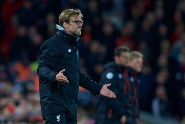 LIVERPOOL, ENGLAND - Wednesday, April 5, 2017: Liverpool's manager Jürgen Klopp reacts during the FA Premier League match against AFC Bournemouth at Anfield. (Pic by David Rawcliffe/Propaganda)
