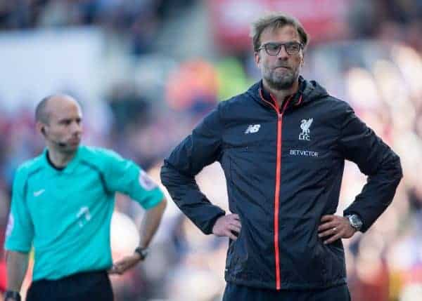 STOKE-ON-TRENT, ENGLAND - Saturday, April 8, 2017: Liverpool's manager Jurgen Klopp reacts during the FA Premier League match against Stoke City at the Bet365 Stadium. (Pic by Laura Malkin/Propaganda)