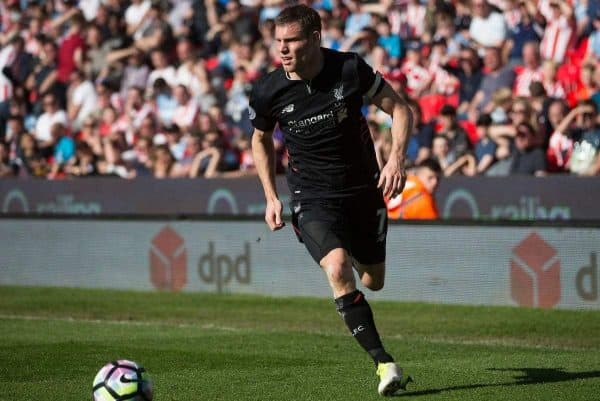 STOKE-ON-TRENT, ENGLAND - Saturday, April 8, 2017: Liverpool's James Milner in action against Stoke City during the FA Premier League match at the Bet365 Stadium. (Pic by Laura Malkin/Propaganda)