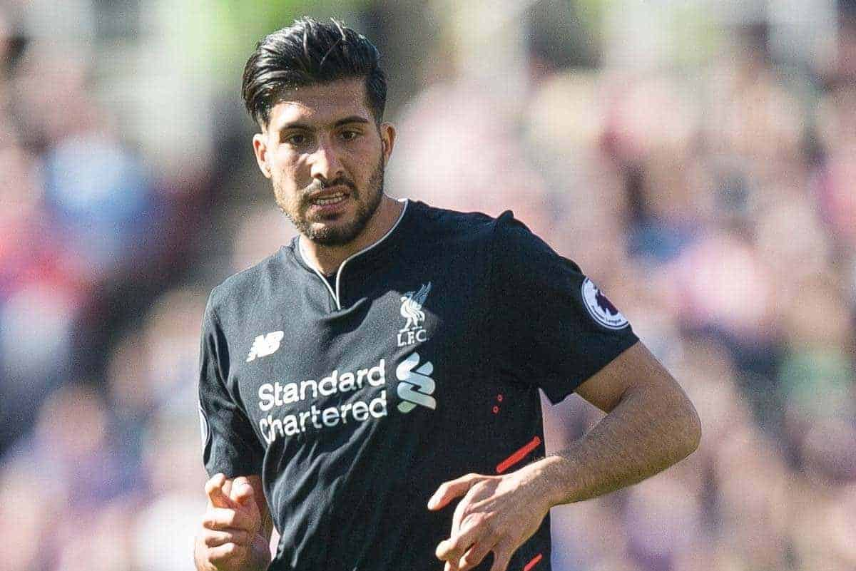 STOKE-ON-TRENT, ENGLAND - Saturday, April 8, 2017: Liverpool's Emre Can in action against Stoke City during the FA Premier League match at the Bet365 Stadium. (Pic by Laura Malkin/Propaganda)