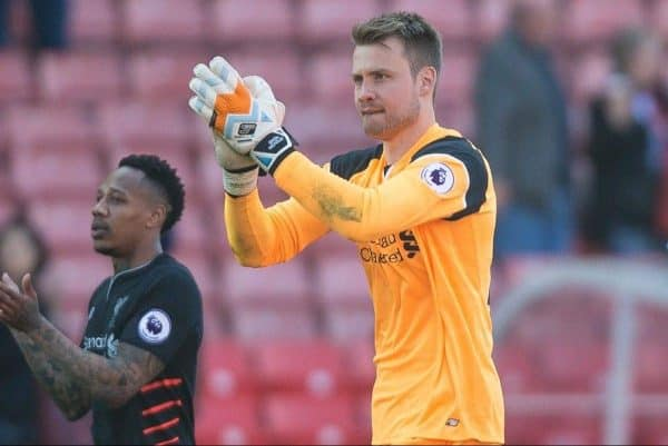 STOKE-ON-TRENT, ENGLAND - Saturday, April 8, 2017: Liverpool's Simon Mignolet thanks fans after the 3-1 win in the FA Premier League match against Stoke City at the Bet365 Stadium. (Pic by Laura Malkin/Propaganda)