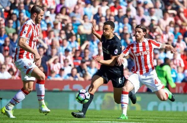 STOKE-ON-TRENT, ENGLAND - Saturday, April 8, 2017: Liverpool's Trent Alexander-Arnold in action against Stoke City's Joe Allen during the FA Premier League match at the Bet365 Stadium. (Pic by David Rawcliffe/Propaganda)