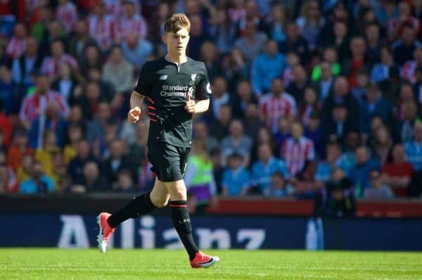 STOKE-ON-TRENT, ENGLAND - Saturday, April 8, 2017: Liverpool's Ben Woodburn in action against Stoke City during the FA Premier League match at the Bet365 Stadium. (Pic by David Rawcliffe/Propaganda)