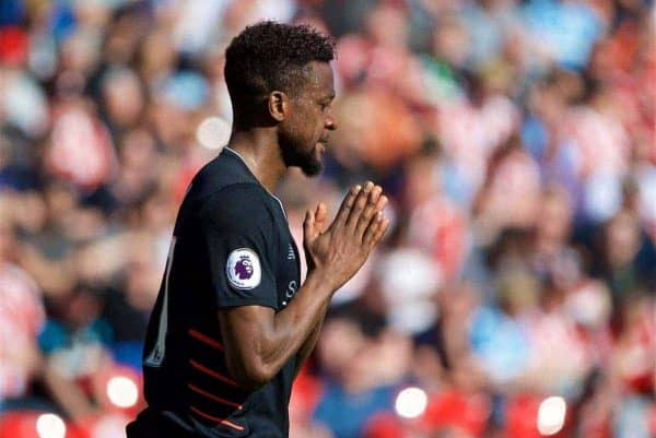 STOKE-ON-TRENT, ENGLAND - Saturday, April 8, 2017: Liverpool's Divock Origi looks dejected after missing a chance against Stoke City during the FA Premier League match at the Bet365 Stadium. (Pic by David Rawcliffe/Propaganda)