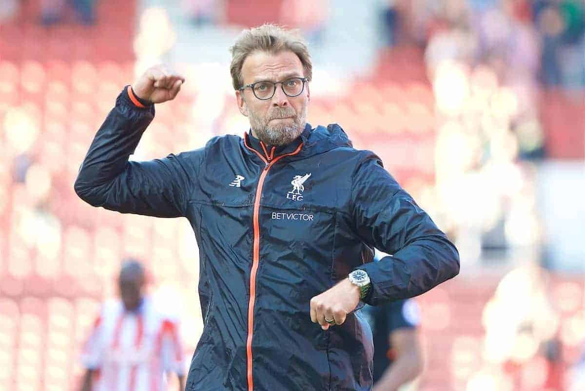 STOKE-ON-TRENT, ENGLAND - Saturday, April 8, 2017: Liverpool's manager Jürgen Klopp celebrates after the 2-1 victory over Stoke City during the FA Premier League match at the Bet365 Stadium. (Pic by David Rawcliffe/Propaganda)