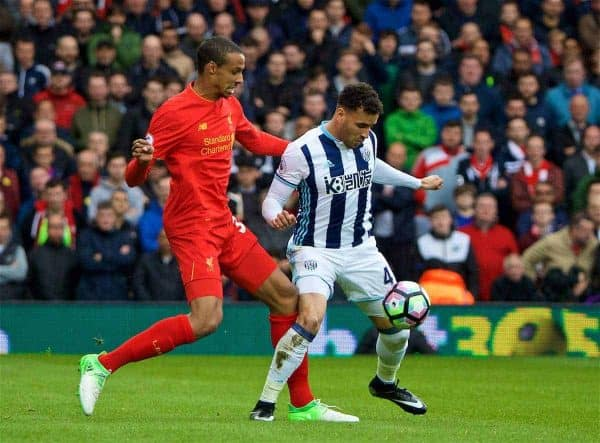 WEST BROMWICH, ENGLAND - Easter Sunday, April 16, 2017, 2016: Liverpool's Joel Matip in action against West Bromwich Albion's Hal Robson-Kanu during the FA Premier League match at the Hawthorns. (Pic by David Rawcliffe/Propaganda)
