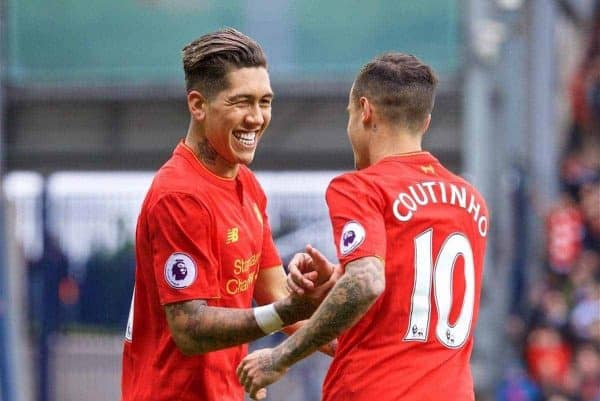 WEST BROMWICH, ENGLAND - Easter Sunday, April 16, 2017, 2016: Liverpool's Roberto Firmino celebrates scoring the first goal against West Bromwich Albion with team-mate Philippe Coutinho Correia during the FA Premier League match at the Hawthorns. (Pic by David Rawcliffe/Propaganda)