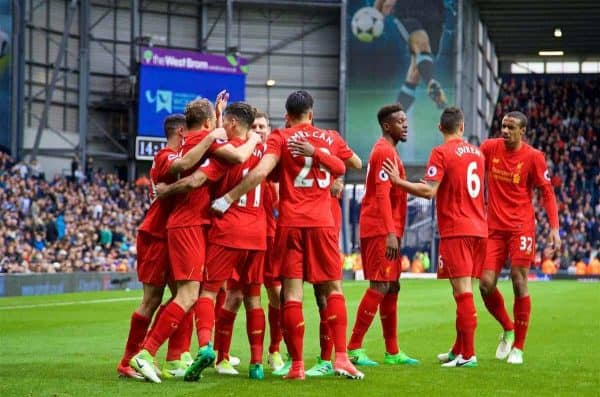 WEST BROMWICH, ENGLAND - Easter Sunday, April 16, 2017, 2016: Liverpool's Roberto Firmino celebrates scoring the first goal against West Bromwich Albion with team-mates during the FA Premier League match at the Hawthorns. (Pic by David Rawcliffe/Propaganda)