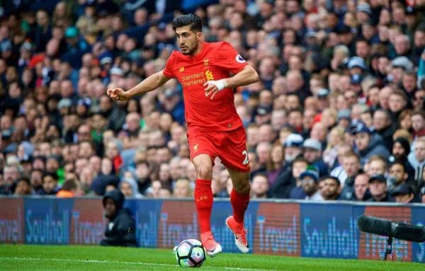 WEST BROMWICH, ENGLAND - Easter Sunday, April 16, 2017, 2016: Liverpool's Emre Can in action against West Bromwich Albion during the FA Premier League match at the Hawthorns. (Pic by David Rawcliffe/Propaganda)