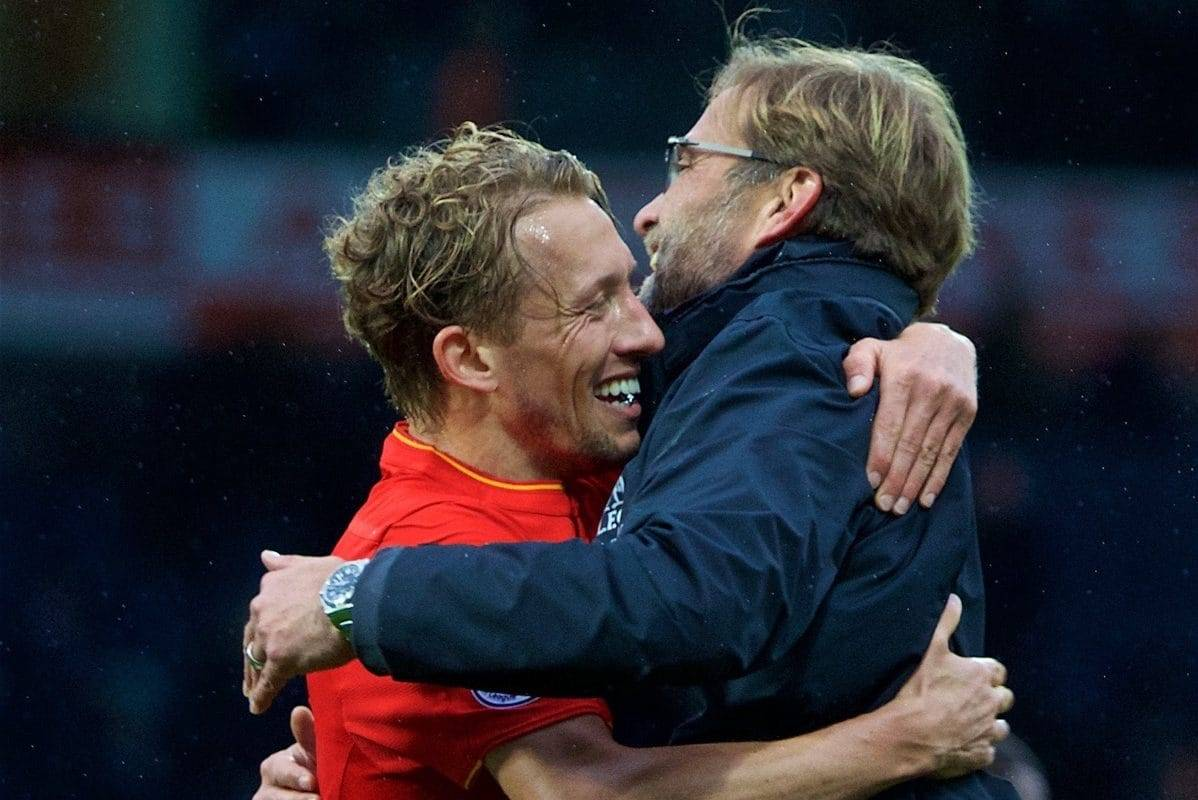 WEST BROMWICH, ENGLAND - Easter Sunday, April 16, 2017, 2016: Liverpool's manager J¸rgen Klopp celebrates the 1-0 victory over West Bromwich Albion with Lucas Leiva during the FA Premier League match at the Hawthorns. (Pic by David Rawcliffe/Propaganda)