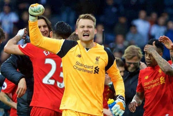 Liverpool's goalkeeper Simon Mignolet celebrates the 1-0 victory over West Bromwich Albion during the FA Premier League match at the Hawthorns. (Pic by David Rawcliffe/Propaganda)