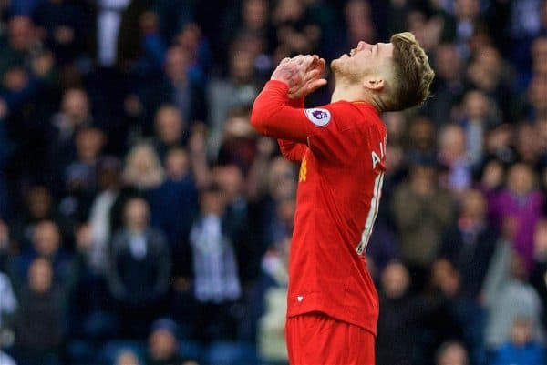 WEST BROMWICH, ENGLAND - Easter Sunday, April 16, 2017, 2016: Liverpool's Alberto Moreno looks dejected after missing an open goal in injury time against West Bromwich Albion during the FA Premier League match at the Hawthorns. (Pic by David Rawcliffe/Propaganda)