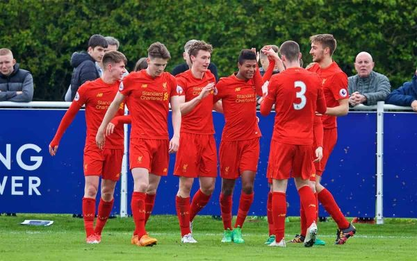 LEICESTER, ENGLAND - Easter Monday, April 17, 2017: Liverpool's Matthew Virtue [3rd from Left] celebrates scoring the second goal against Leicester City during the Under-23 FA Premier League 2 Division 1 match at Holmes Park. (Pic by David Rawcliffe/Propaganda)