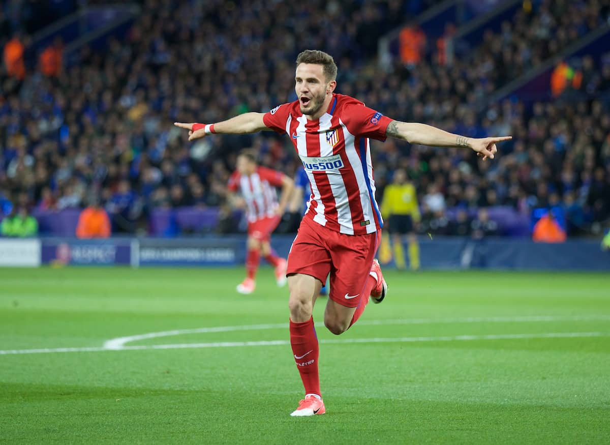 LEICESTER, ENGLAND - Tuesday, April 18, 2017: Club Atlético de Madrid's Saúl Ñíguez celebrates scoring the first goal against Leicester City during the UEFA Champions League Quarter-Final 2nd Leg match at the King Power Stadium. (Pic by David Rawcliffe/Propaganda)