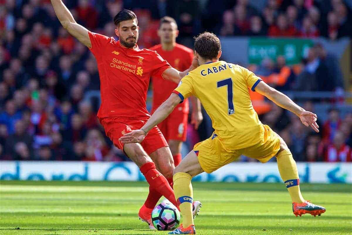 LIVERPOOL, ENGLAND - Sunday, April 23, 2017: Liverpool's Emre Can in action against Crystal Palace during the FA Premier League match at Anfield. (Pic by David Rawcliffe/Propaganda)