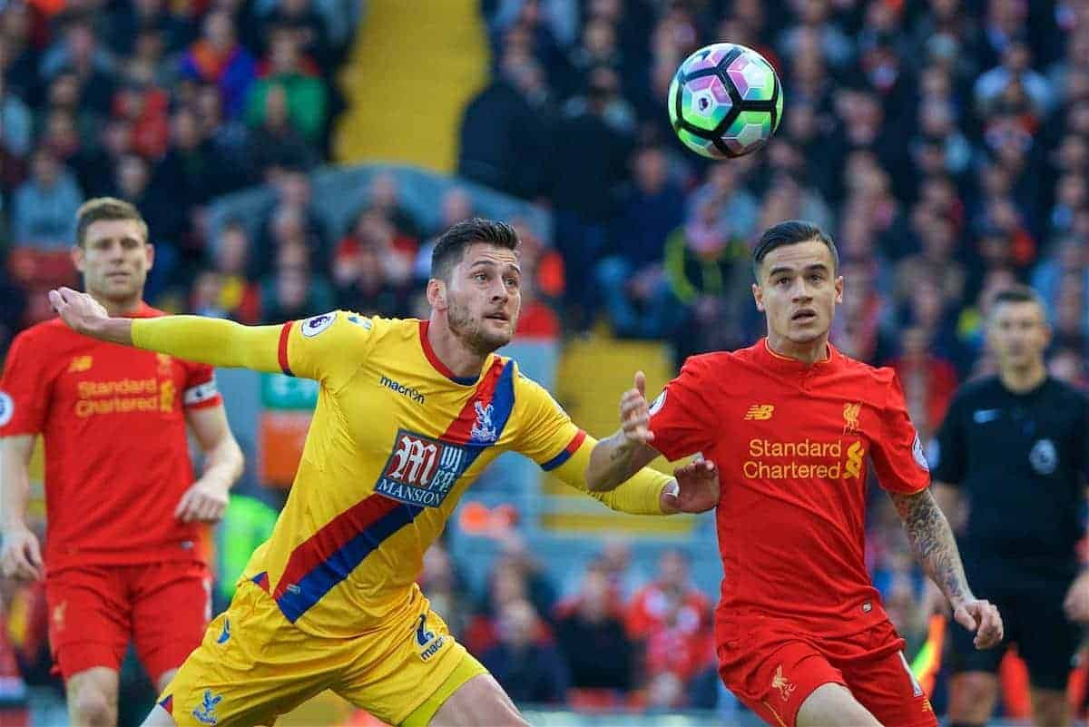 LIVERPOOL, ENGLAND - Sunday, April 23, 2017: Liverpool's Philippe Coutinho Correia in action against Crystal Palace's Joel Ward during the FA Premier League match at Anfield. (Pic by David Rawcliffe/Propaganda)