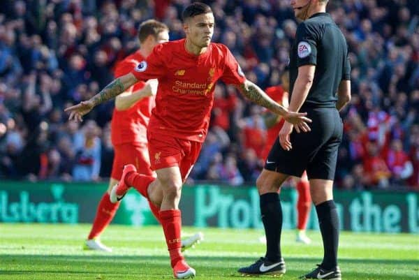 LIVERPOOL, ENGLAND - Sunday, April 23, 2017: Liverpool's Philippe Coutinho Correia celebrates scoring the first goal against Crystal Palace from a free-kick during the FA Premier League match at Anfield. (Pic by David Rawcliffe/Propaganda)
