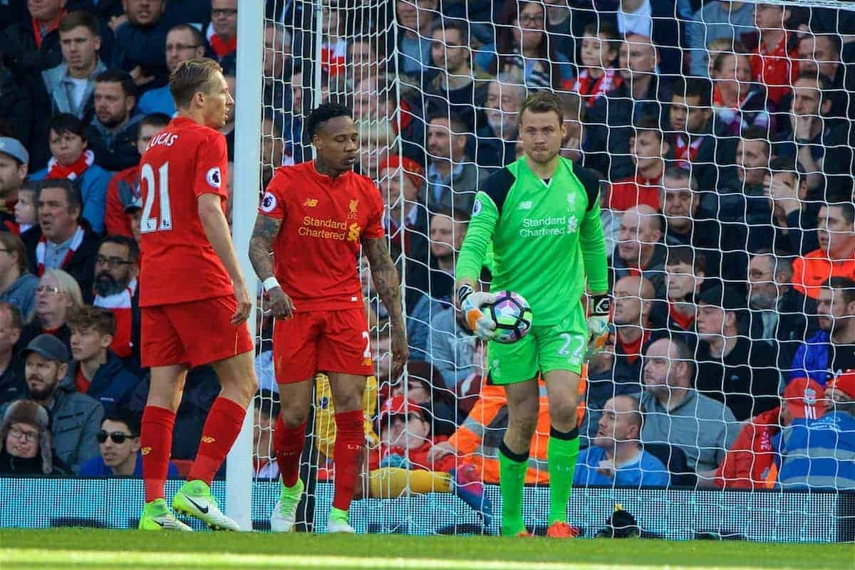 LIVERPOOL, ENGLAND - Sunday, April 23, 2017: Liverpool's goalkeeper Simon Mignolet looks dejected as Crystal Palace score the first equalising goal during the FA Premier League match at Anfield. (Pic by David Rawcliffe/Propaganda)