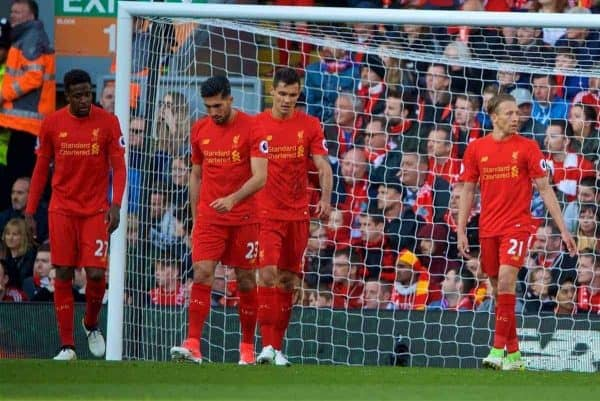 LIVERPOOL, ENGLAND - Sunday, April 23, 2017: Liverpool's Divock Origi, Emre Can, Dejan Lovren and Lucas Leiva look dejected as Crystal Palace score the winning second goal during the FA Premier League match at Anfield. (Pic by David Rawcliffe/Propaganda)
