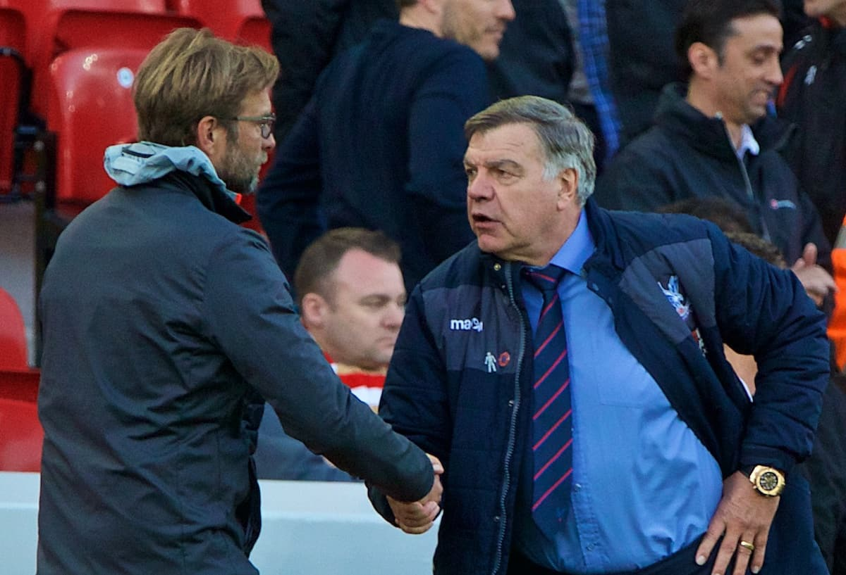 LIVERPOOL, ENGLAND - Sunday, April 23, 2017: Crystal Palace's manager Sam Allardyce shakes hands with Liverpool's manager Jürgen Klopp after his side's 2-1 victory during the FA Premier League match at Anfield. (Pic by David Rawcliffe/Propaganda)