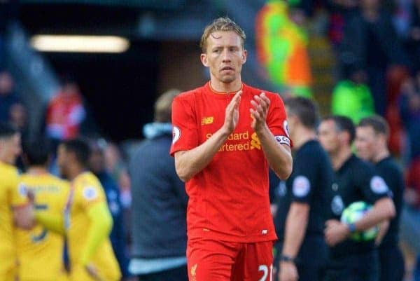 LIVERPOOL, ENGLAND - Sunday, April 23, 2017: Liverpool's Lucas Leiva looks dejected after his side's 2-1 defeat to Crystal Palace during the FA Premier League match at Anfield. (Pic by David Rawcliffe/Propaganda)