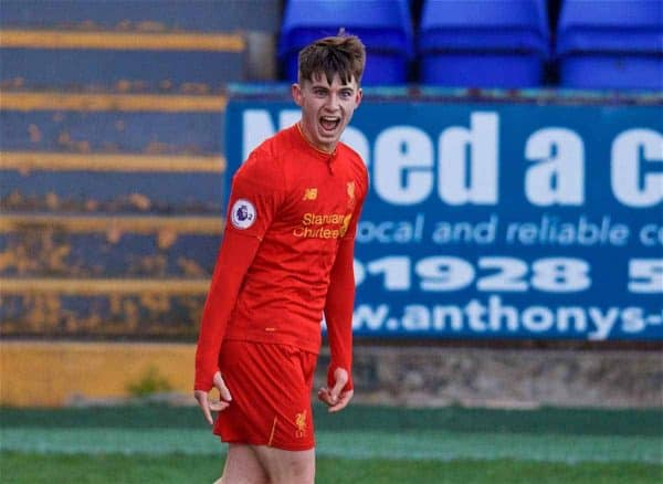 BIRKENHEAD, ENGLAND - Monday, April 24, 2017: Liverpool's Ben Woodburn celebrates scoring the first equalising goal against Manchester City during the Under-23 FA Premier League 2 Division 1 match at Prenton Park. (Pic by David Rawcliffe/Propaganda)