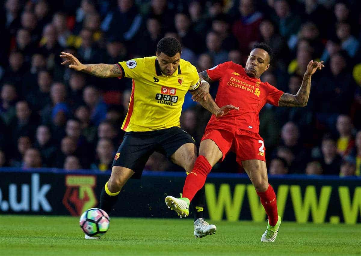 WATFORD, ENGLAND - Monday, May 1, 2017: Liverpool's Nathaniel Clyne in action against Watford's captain Troy Deeney during the FA Premier League match at Vicarage Road. (Pic by David Rawcliffe/Propaganda)