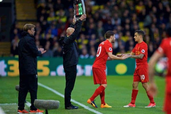 WATFORD, ENGLAND - Monday, May 1, 2017: Liverpool's injured Philippe Coutinho Correia is replaced by substitute Adam Lallana against Watford during the FA Premier League match at Vicarage Road. (Pic by David Rawcliffe/Propaganda)