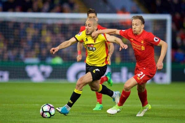 WATFORD, ENGLAND - Monday, May 1, 2017: Liverpool's Lucas Leiva in action against Watford's Nordin Amrabat during the FA Premier League match at Vicarage Road. (Pic by David Rawcliffe/Propaganda)