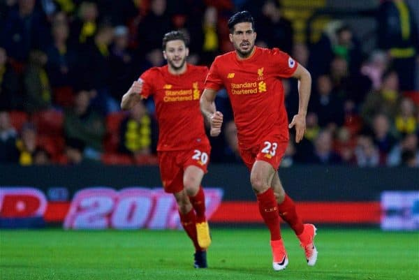 WATFORD, ENGLAND - Monday, May 1, 2017: Liverpool's Emre Can celebrates scoring the first goal against Watford during the FA Premier League match at Vicarage Road. (Pic by David Rawcliffe/Propaganda)