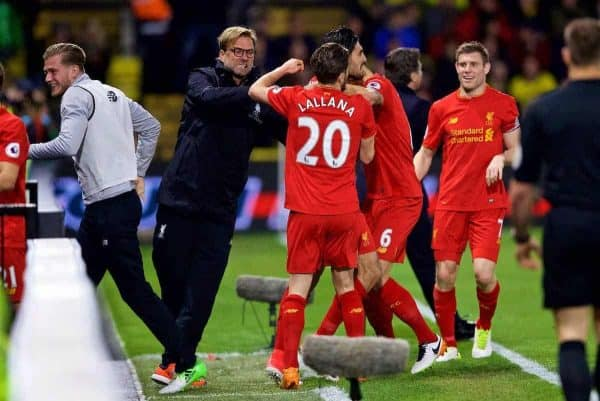 WATFORD, ENGLAND - Monday, May 1, 2017: Liverpool's Emre Can celebrates scoring the first goal against Watford with team-mates and manager Jürgen Klopp during the FA Premier League match at Vicarage Road. (Pic by David Rawcliffe/Propaganda)