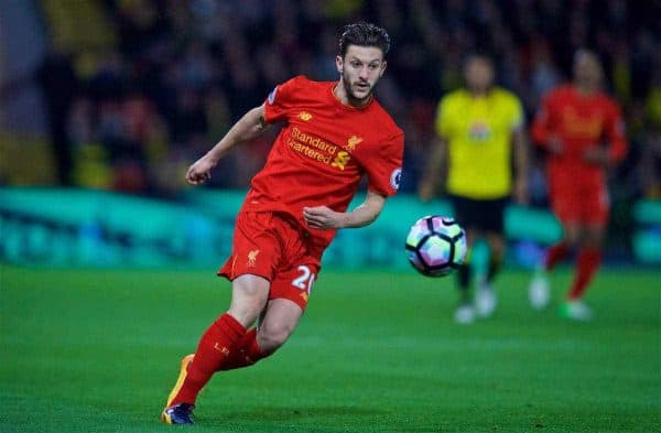 WATFORD, ENGLAND - Monday, May 1, 2017: Liverpool's Adam Lallana in action against Watford during the FA Premier League match at Vicarage Road. (Pic by David Rawcliffe/Propaganda)