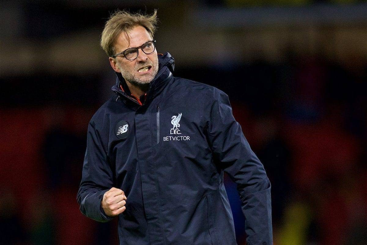 WATFORD, ENGLAND - Monday, May 1, 2017: Liverpool's manager Jürgen Klopp celebrates after the 1-0 victory over Watford during the FA Premier League match at Vicarage Road. (Pic by David Rawcliffe/Propaganda)