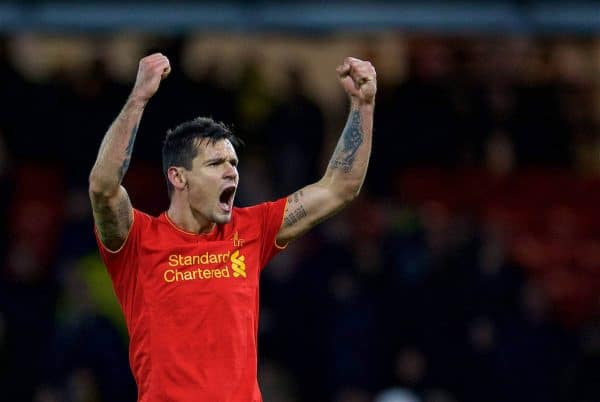 WATFORD, ENGLAND - Monday, May 1, 2017: Liverpool's Dejan Lovren celebrates after the 1-0 victory over Watford during the FA Premier League match at Vicarage Road. (Pic by David Rawcliffe/Propaganda)