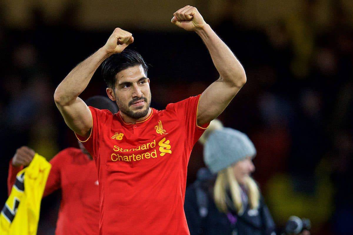 WATFORD, ENGLAND - Monday, May 1, 2017: Liverpool's match-winning goalscorer Emre Can celebrates after the 1-0 victory over Watford during the FA Premier League match at Vicarage Road. (Pic by David Rawcliffe/Propaganda)
