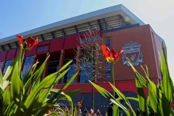 Flowers bloom in front of Liverpool's new Main Stand ahead of the FA Premier League match between Liverpool and Southampton. (Pic by David Rawcliffe/Propaganda)