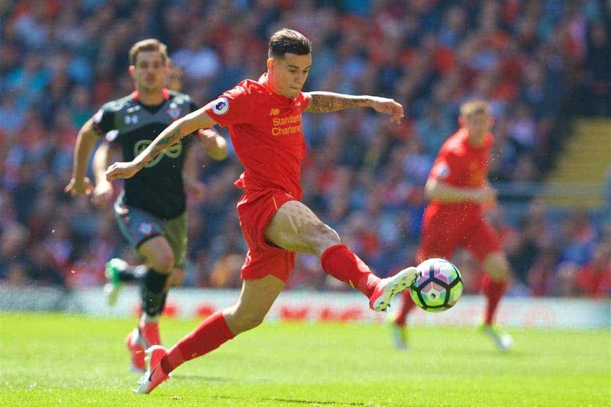 LIVERPOOL, ENGLAND - Sunday, May 7, 2017: Liverpool's Philippe Coutinho Correia in action against Southampton during the FA Premier League match at Anfield. (Pic by David Rawcliffe/Propaganda)