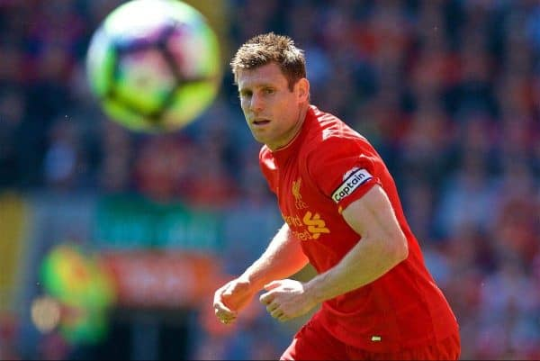 LIVERPOOL, ENGLAND - Sunday, May 7, 2017: Liverpool's James Milner in action against Southampton during the FA Premier League match at Anfield. (Pic by David Rawcliffe/Propaganda)