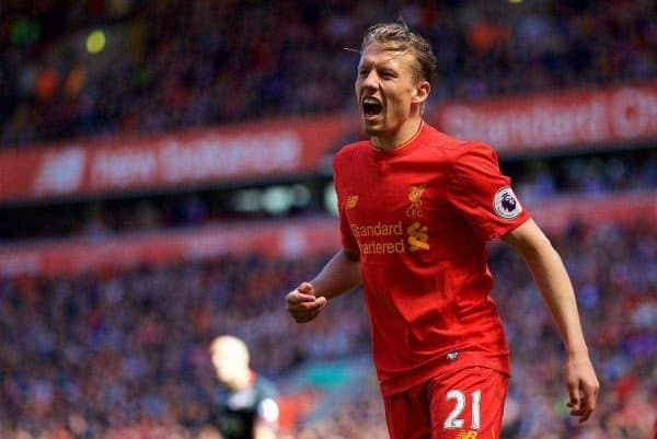 LIVERPOOL, ENGLAND - Sunday, May 7, 2017: Liverpool's Lucas Leiva in action against Southampton during the FA Premier League match at Anfield. (Pic by David Rawcliffe/Propaganda)