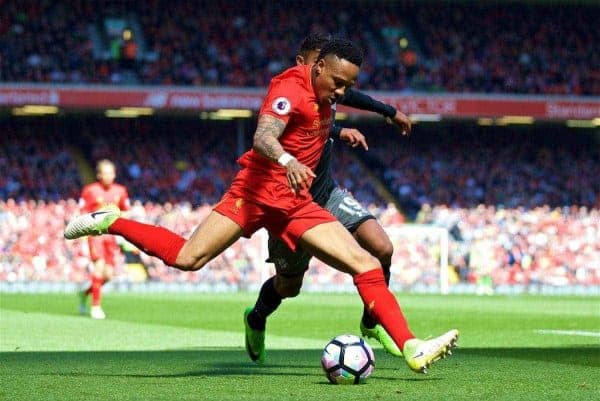 LIVERPOOL, ENGLAND - Sunday, May 7, 2017: Liverpool's Nathaniel Clyne in action against Southampton during the FA Premier League match at Anfield. (Pic by David Rawcliffe/Propaganda)