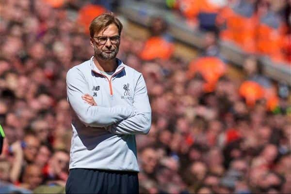 LIVERPOOL, ENGLAND - Sunday, May 7, 2017: Liverpool's manager Jürgen Klopp during the FA Premier League match against Southampton at Anfield. (Pic by David Rawcliffe/Propaganda)