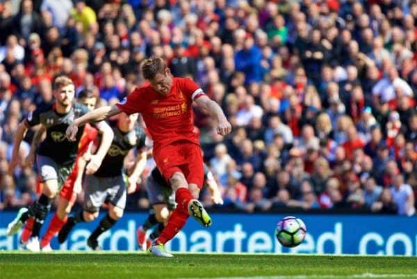 LIVERPOOL, ENGLAND - Sunday, May 7, 2017: Liverpool's James Milner sees his penalty kick saved against Southampton during the FA Premier League match at Anfield. (Pic by David Rawcliffe/Propaganda)