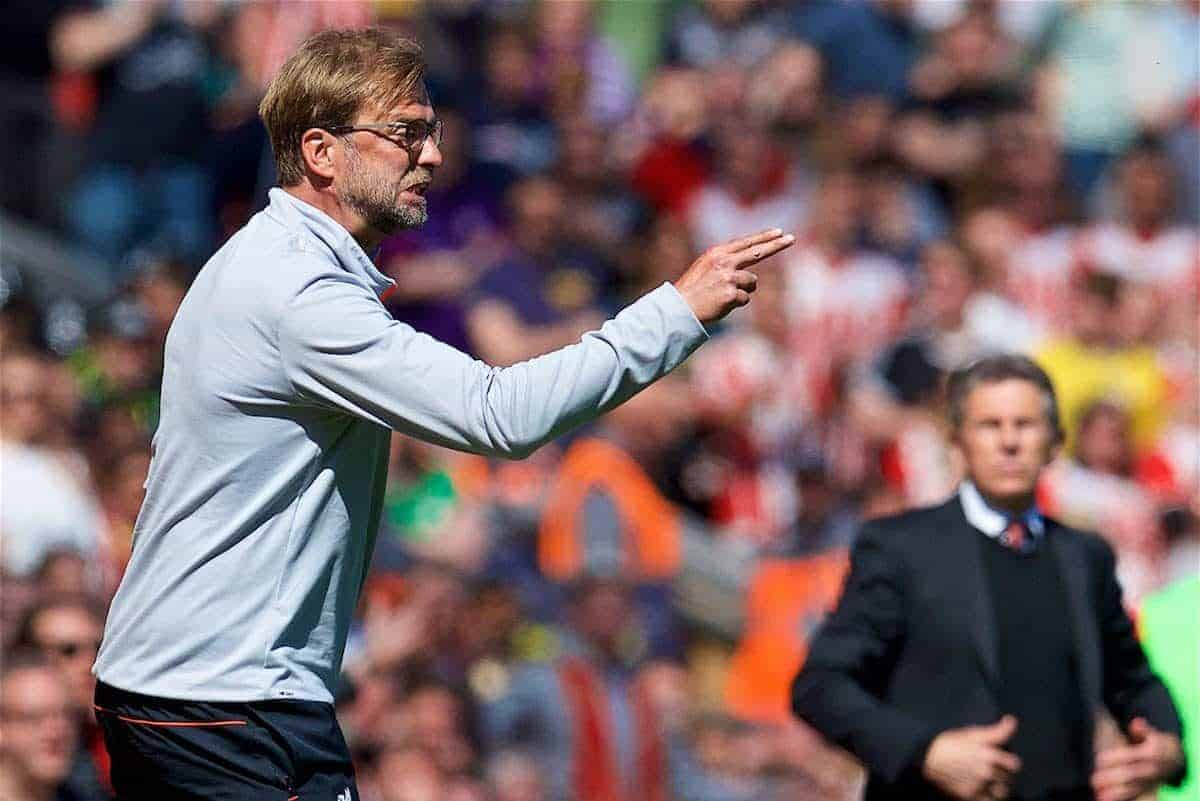 LIVERPOOL, ENGLAND - Sunday, May 7, 2017: Liverpool's manager Jürgen Klopp reacts during the FA Premier League match against Southampton at Anfield. (Pic by David Rawcliffe/Propaganda)