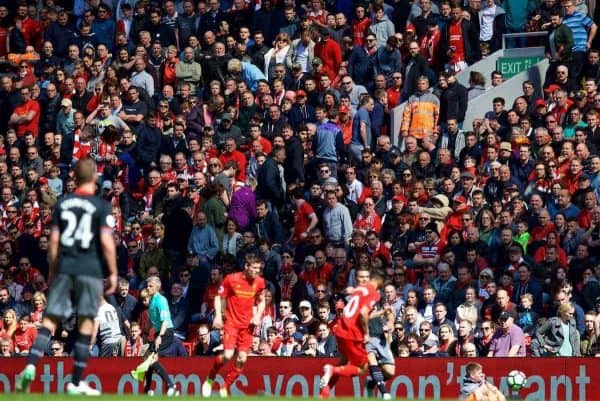 LIVERPOOL, ENGLAND - Sunday, May 7, 2017: Liverpool supporters head for the exits before the end of the game against Southampton during the FA Premier League match at Anfield. (Pic by David Rawcliffe/Propaganda)
